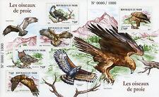 Niger 2015 MNH Birds of Prey Eagles Owls 4v M/S + 1v S/S Bird Stamps