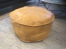 Oversized Stunning Turkish Leather Ottoman Pouffe Pouf Footstool In Yellow