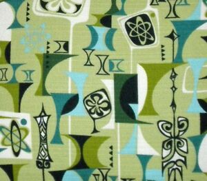 new authentic Atomic #2926 barkcloth fabric remnant by Robert Kaufman RARE