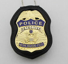 us AMTRAK RAILWAY BADGE WITH cut-out badge holder