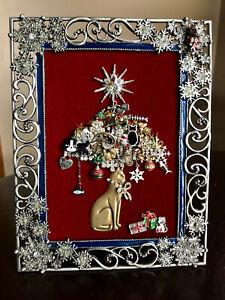 VINTAGE CAT JEWELRY CHRISTMAS TREE RHINESTONE FRAMED ART BRIGHTON STAR DECOR