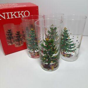 New Nikko Christmas Glassware 4 each 12 oz Tumbler/Highball