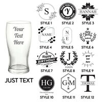 Personalised Engraved Pint Glass Your Own Text Etched Glassware Gift