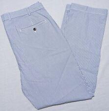 Brooks Brothers Clark Seersucker Pants Blue Striped 36 x 32 ~ Perfect!