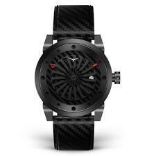 Zinvo Venom Turbina Automatico Acciaio Nero Carbonio Pelle Zaffiro Orologio Uomo