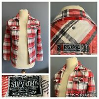 Men's Size Small Superdry Red Button Up Checked Thick Cotton Collared Shirt