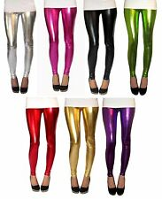 PETITE LENGTH Leggings Ultrashine Metallic Black Spandex Size 6 8 10 12 14 16 18