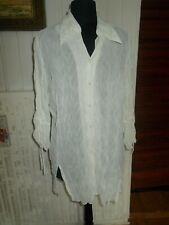 Chemisier sur chemise CHRISTINE LAURE 44 XL 16UK 12US  42D polyester blanc cassé
