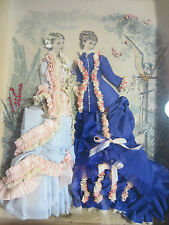 Antique Victorian La Mode Illustree Fabric Embellished Shadow Box Fashion Print