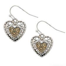Two Tone Metal Heart Fashionable Earrings - Vine Filigree - Fish Hook
