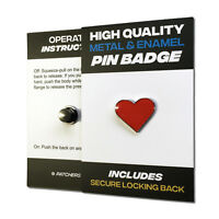 Red Heart High Quality Metal & Enamel Pin Badge with Secure Locking Back