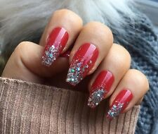 Hand Painted False Nails Red Coffin Square Full Cover Glitter Tips