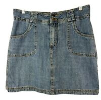 St Johns Bay Womens Denim Skort 8 Medium Skirt Shorts Cotton Jean Medium Wash