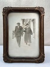Vtg 30-40's BURWOOD Ornawood 5x7 FLEUR DELIS Ornate Frame Sepia Photo Of Couple