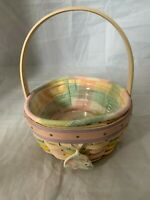 2001 Longaberger Easter Basket Combo Pastel Liner Tie on with Plastic Protector