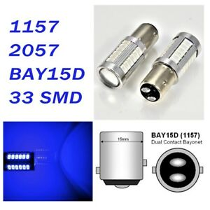 Blue Parking Light 1157 2357 3496 7528 BAY15D 33 SMD LED Bulb A1 For Acura L