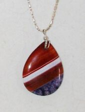 Art Glass Pendant Necklace LARGE TEARDROP Handmade Lampwork  Made in USA