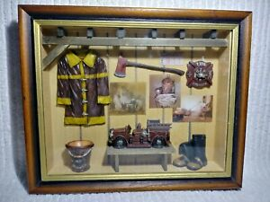 "Firefighter Shadow Box Seymour Mann Handcrafted Firetruck 13.5"" x 11""x 2"""