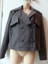 Gorgeous M&S Indigo Collection coffee brown wool blend coat size 14