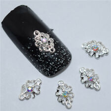 NEW Silver Metallic Rhinestone Nail Art Crystal Gems FREE P&P UK
