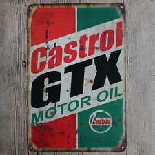 "Metal Sign Tin Poster Garage Shop Vintage Wall Decor Plaque ""Gastrol GTX"""
