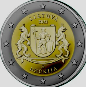 Lithuania 🇱🇹Coin 2€ Euro 2021 Ethnographic Region DZUKIJA  Coat Of Arms Dogs