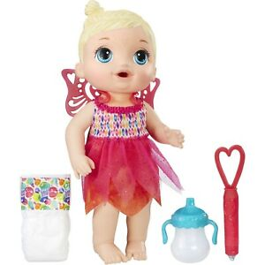 NEW Baby Alive Face Paint Fairy Blonde Hair Doll Drinks a Bottle & Wets Diaper