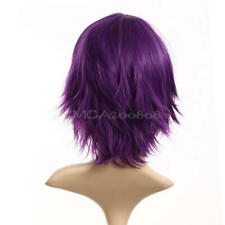 Deep Purple Women's Stylish Short Straight Hair Girl Full Wig Wig Roleplay Party