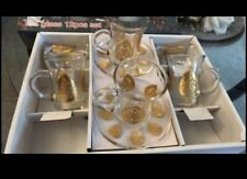 Traditional Turkish Tea Glasses Holders Serving Cups Saucers Set New 12 Pieces