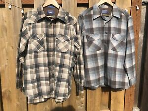 Pendleton Wool Shirt Lot of 2 Larges vintage country western USA