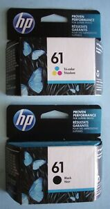 hp 61 (2) Ink Cartridges Tri-color / Black ~ Expires APR MAY 2022 New In Box NR