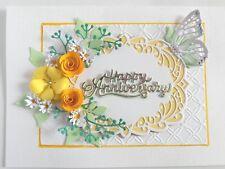 Personalised Handmade Luxury Birthday/Anniversary Card Yellow Flowers/Butterfly