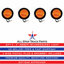 """2"""" Inch Round Side Marker Clearance Truck Light Amber w/ Grommet & Pigtail Qty 4"""