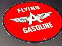 "VINTAGE FLYING A GASOLINE & WINGS 12"" PORCELAIN METAL GAS & OIL SIGN! PUMP PLATE"