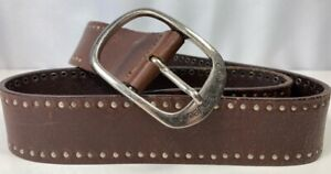 Calvin Klein Jeans Womens Waist Belt Brown Leather Studded Adjustable Buckle M