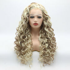 Meiyite Hair Curly Long 26inch  White Light Blonde Auburn Mix Lace Front Wig