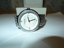 Anne Klein Silver Tone Swarovski Crystal Rose Dial Women's Watch (12/2283SVSV)