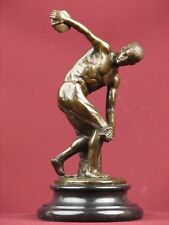 SIGNED BRONZE SCULPTURE NUDE MALE  MYTHOLOGY DISCOBOLUS STATUE ON MARBLE BASE