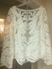 Boho Crochet Lace Top AnTHroPoLogie Embroidered Tunic BLouse Sz M NEW