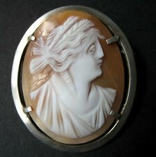 BROCHE CAMEE ANCIEN coquillage Argent XIXè ANTIQUE shell CAMEO 19th C Brooch