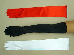 Women Lady Girl Extra Long Stretch Shiny Wedding Satin Gloves Red White Black