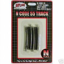 "Atlas #2013 N Scale 11.25"" Radius 1/2 Sections (6 pack) Code 55 Rails Brown Ties"
