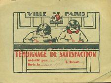 TEMOIGNAGE DE SATISFACTION ECOLE 1932 VILLE DE PARIS