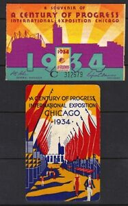 "US 1933 A CENTURY OF PROGRESS 2 PROMOTION CARDS 1 W/ PHOTO OF ""IRISH VILLAGE"" ON"