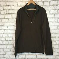 REI Men's Brown Half Zip Thick Longsleeve Warm Pullover Sweater Size Large