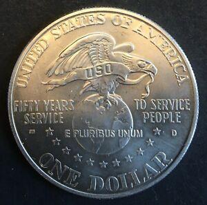 USA - Silver 1 Dollar Coin - 'USO Anniversary' - 1991 - UNC
