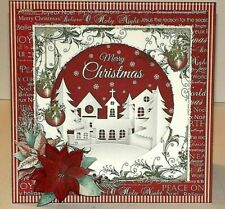 Handmade Greeting Card 3D Christmas With A Village Scene W/ Sentiment
