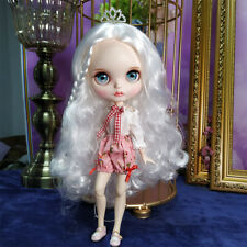 Blythe Nude Doll from Factory White Hair With Make-up Eyebrow Sleeping Eyes