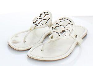 01-52 $198 Women's Sz 10.5 M Tory Burch Miller Leather Logo Flat Sandals