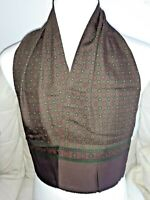 VINTAGE GEOMETRIC Slim Wool/Silk Head/Neck Scarf/Cravat MOD SCOOTER RETRO Brown